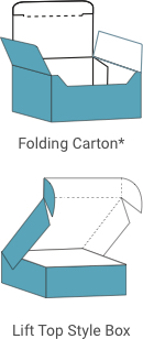 Folding Carton and Lift Top Style Box